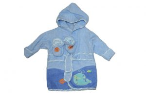 Baby Bow Bath Robe & Bootie Set Blue