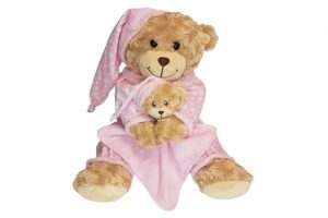 Baby Bow Bedtime Bear – Pink