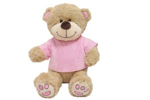 Baby Bow Soft Plush Bear - Removable Velour Top Pink