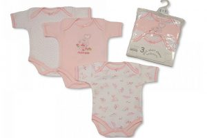 Short Sleeve Body Suit 3pk Pink
