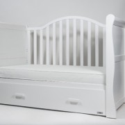 Babylo Sleigh Cot Bed White 1