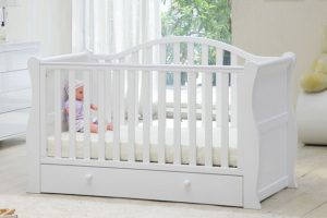 Babylo Sleigh Cot Bed White 2