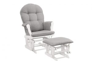 Babylo Milan Rocking Gliding Chair - White & Grey
