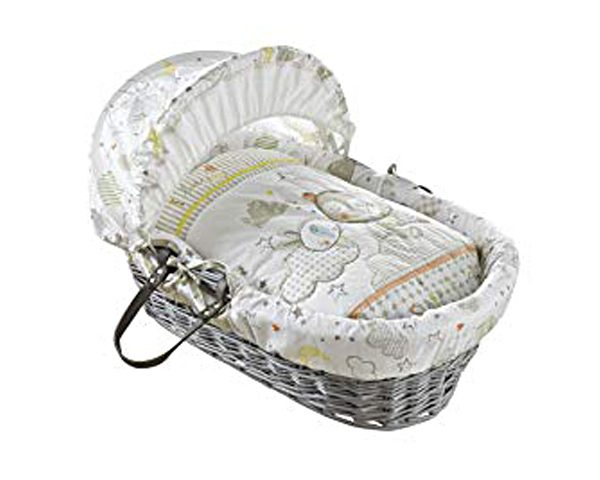 Clair de Lune Wicker Moses Basket - Sleep Tight