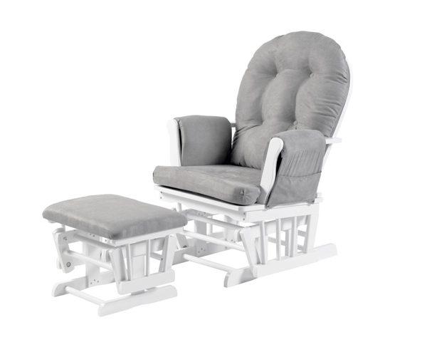 Babylo Brompton Rocking Glider Chair - White & Grey